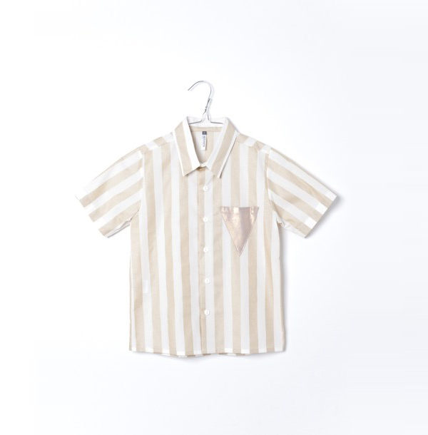 Pepe&Nika PepeandNika Little Apparel Kids Fashion Kindermode MOTORETA Spain Gold and white striped shirt Kids Hemd weiss gold boys Jungen gestreift chic summery sommerlich vernal frühlingshaft casual elegant Tilo Shirt White & Golden stripes