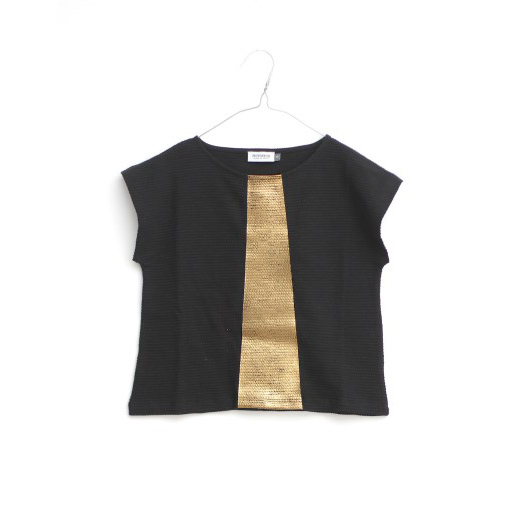 Pepe&Nika PepeandNika Little Apparel Kids Fashion Kindermode MOTORETA Spain Black golden T-Shirt Lantana T-Shirt Black & Golden schwarz gold Shirt girls Mädchen summery sommerlich chic festive festlich elegant