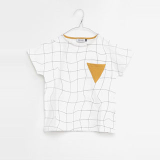 Pepe&Nika PepeandNika Little Apparel Kids Fashion Kindermode MOTORETA Spain Black White T-Shirt with Grid Gitter weiss gold girls Mädchen boys Jungs Kids summery sommerlich chic elegant vernal frühlingshaft Mirto T-Shirt White & Black Grid unisex design
