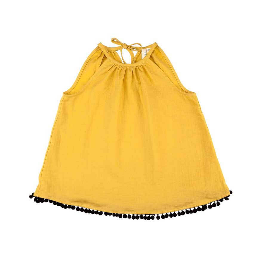 pepeandnika noch mini halter top new york design for girls yellow organic gots cotton de luxe elegant festive