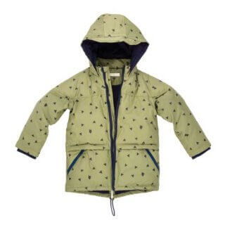 pepeandnika noch mini new york design boys coat in green goose down feather winterly recycled poyester eco friendly kidsfashion