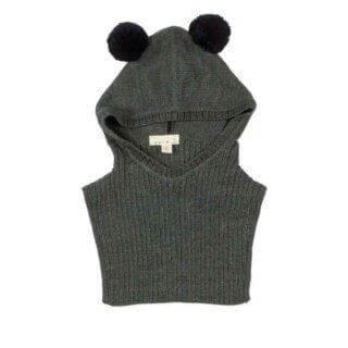 pepeandnika noch mini design new york hooded scarf grey kids baby funny pom-poms winterly