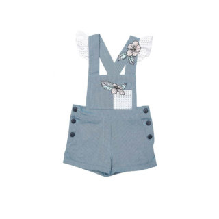 Pepe&Nika PepeandNika Little Apparel Kindermode Kids Fashion Summer Dungarees Overall blue blau Latzhose Sommer sommerlich cute mädchenhaft chic playful verspielt ROMPER APPLE