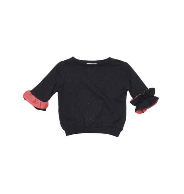 Pepe&Nika PepeandNika Little Apparel Kindermode Kids Fashion Sweater Orchid black Pullover schwarz Mädchen frühlingshaft summery sommerlich elegant cute SWEATER ORCHID DARK PUFFS