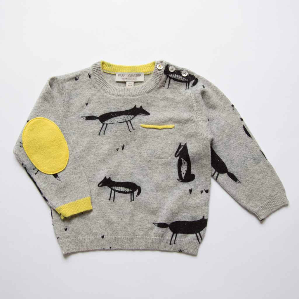 Pepe&Nika PepeandNika PAPA LOBSTER Gretas Schwester Little Apparel Kids Fashion Cashmere jumper with fox print boys de luxe autumnal fairtrade hand-made handmade print vernal winterly wool fox funky cool elegant