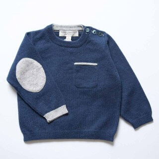 Pepe&nika papa lobster cashmere handmade kindermode little apparel de luxe kids babies girls boys kinder Jumper with Elbowpatches Jumper with Elbow Patches navy elegant basics de luxe fairtrade fair-trade handmade hand-made wool wolle