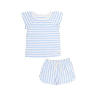 Pepe&Nika PepeandNika Kids Fashion Little Apparel Kindermode Snork Copenhagen Girls Pyjamas Seastripes Mädchen Schlafanzug blau weiss sleeping wear sleepwear summery sommerlich casual organic bio