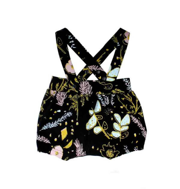Pepe&Nika PepeandNika Thief&Bandit Little Apparel Kindermode Desert Floral Suspender Bloomers Shorts Hosenträger bio organic print vernal summery frühlingshaft sommerlich funky extravagant black casual