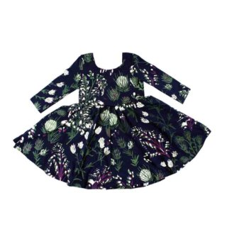Pepe&Nika PepeandNika Thief&Bandit Little Apparel Kindermode Thistle Twirling Dress bio organic print vernal frühlingshaft funky extravagant navy de luxe casual Kleid blau Disteln