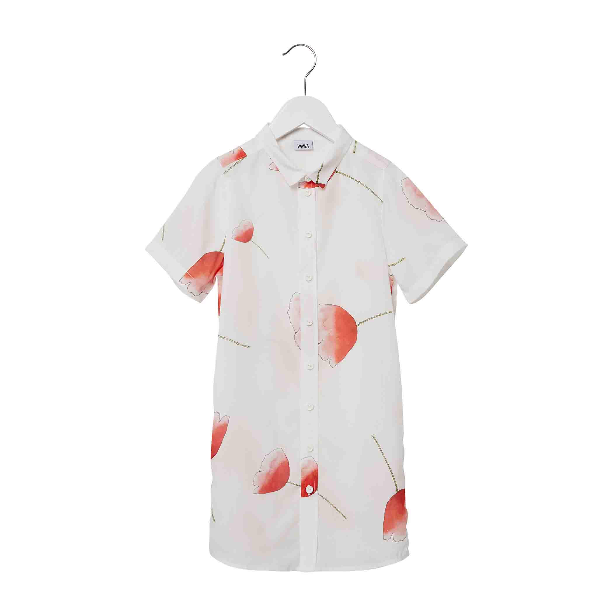 pepeandnika presents wawa copenhagen elegant kidsbrand summerclothes girls shirt dress in white with watercolour print