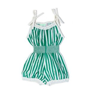 Pepe&Nika PepeandNika Wovenplay Little Apparel Kids Fashion girls Green and white Overall green white striped bio casual chic summery fairtrade handmade organic de luxe Seafoam Jada Sunsuit