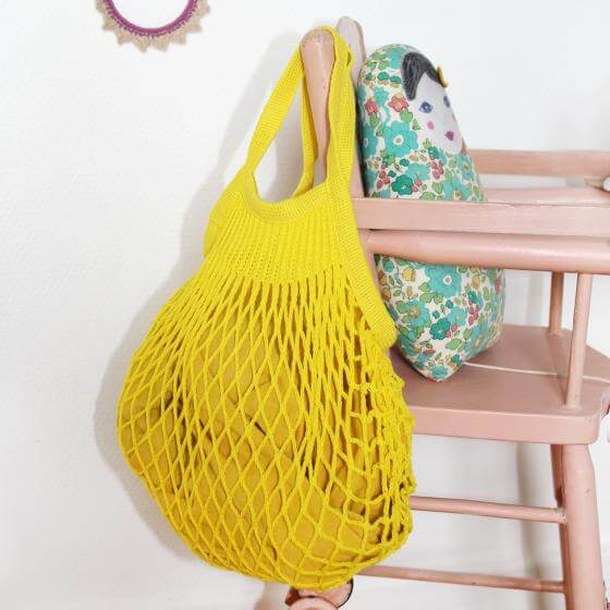 Pepe&Nika PepeandNika Kids Fashion Little Apparel Kindermode BARNABÉ AIME LE CAFÉ France Frankreich Girls Shopping Netz Einkaufsnetz gelb yellow plain functional accessories Accessoires Sac filet à provisions