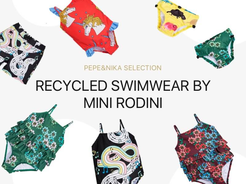 pepeandnika mini rodini recycled kids swimwear swimsuits swimpants colorful prints funky design sustainable fair
