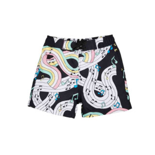Pepe&Nika PepeandNika Mini Rodini Little Apparel Kids Fashion Kindermode Badehose Jungs Kids Baby Melody Swimshorts black print summery sommerlich eco friendly recycled schwarz Sweden Schweden music Noten Musik funky Swim Trunks