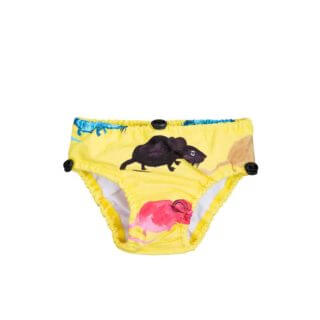 Pepe&Nika PepeandNika Mini Rodini Little Apparel Kids Fashion Kindermode Badehöschen baby Mouse Baby Swimpants print casual summery sommerlich eco friendly recycled gelb Maus Sweden Schweden Mr Mouse Baby Swimpants Yellow