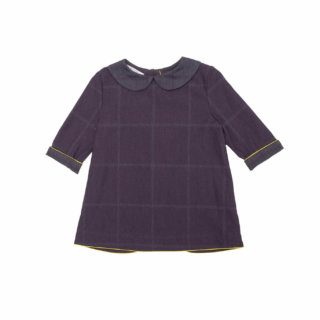 Pepeandnika Pepe&Nika Paade Mode Little Apparel girls de luxe BLOUSE UP NORTH PURPLE Flannel Blouse festive romantic chic organic autumnal