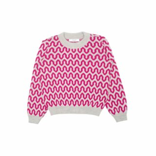 Pepeandnika Pepe&Nika Paade Mode Little Apparel girls babies pink merino Sweater SWEATER LIGHTWAVE PINK de luxe wool casual autumnal winterly patterned