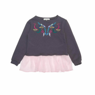 Pepeandnika paade mode jersey sweater de luxe girls design grey pink romantic