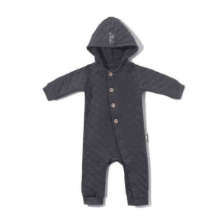 Pepe&Nika PepeandNika Little Apparel Kids Fashion Kindermode COODO Poland newborn quilted hoodie romper suit grey grau Strampler Overall casual basics organic bio QUILTED HOODIE ROMPER SUIT WITH BUTTOMS