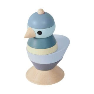 pepeandnika sebra interior wooden stacking toy bird Stapeltier aus Holz Vogel in blau für Kinder