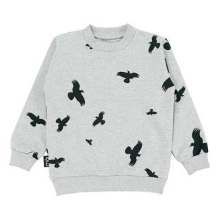 pepeandnika mói island organic bio kindermode grey sweater grauer Pullover sweatshirt hipster print organic cotton bio little apparel casual winterly winterlich autumnal herbstlich Kids boys girls Ov Sweater - Grey Melange