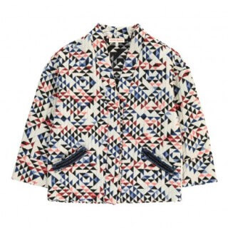 Pepe&Nika PepeandNika Kids Fashion Little Apparel Anne Kuris girls Quilted Jacket triangle Quilted Triangle Kimo Jacket White autumnal chic de luxe elegant patterned design extravagant print
