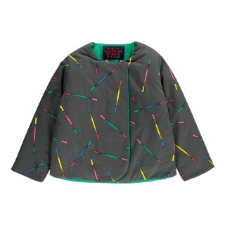 Pepe&Nika PepeandNika Kids Fashion BOBO CHOSES Reversible Jacket anthracite Waterproof Reversible Multicolour Sticks Blazer Charcoal grey autumnal casual funky cute print